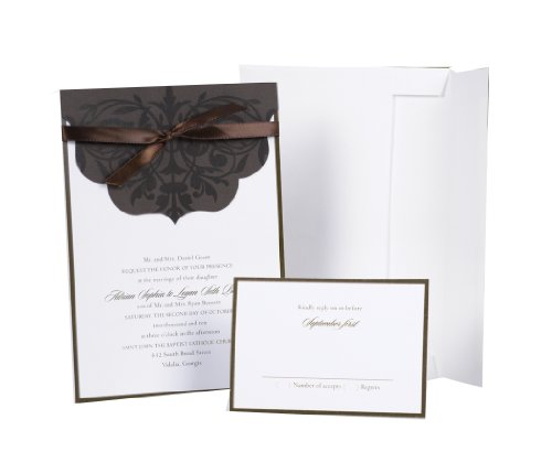 Hortense B. Hewitt Wedding Accessories Print Yourself Invitation Kit, Brown With Scalloped Top Wrap, Pack of 25