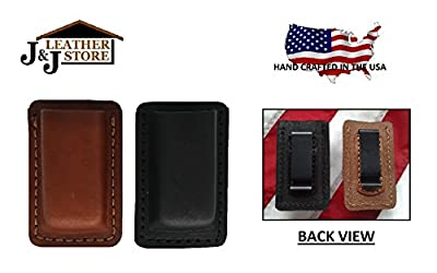 J&J Custom Premium Leather 9mm Double Stack Single Magazine Carrier Holder Holster W/Belt Clip