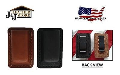 J&J Custom Premium Leather 45 CAL Double Stack Single Magazine Carrier Holder Holster W/Belt Clip