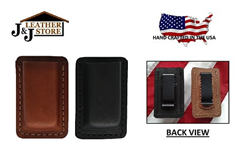 J&J Custom Premium Leather 9mm Double Stack Single Magazine Carrier Holder Holster W/Belt Clip (Brown) (Aa Plain Leather Holster)