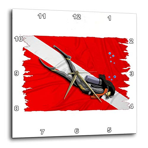 3dRose Macdonald Creative Studios – Scuba - Lady Scuba Diver in Front of a red and White Dive Flag. - 13x13 Wall Clock (DPP_299287_2) -
