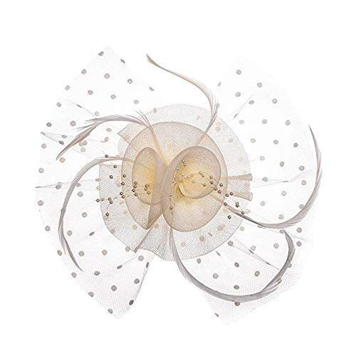 - Women Bird Cage Mesh Flower Feather Net Fascinator Hat Bride Headpieces (Rice)