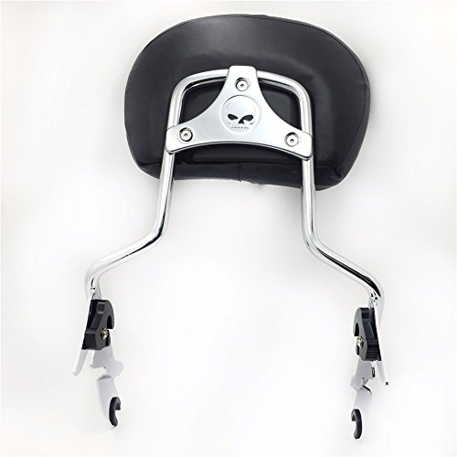 HTT adjustable Chrome Backrest Sissy Bar w/ Leather pad w/ Skull Mounting Plate For ALL YEAR Harley Davidson Touring FLHR- Road King FLHX- Street Glide (NEED DOCKING,SOLD SEPARATELY)