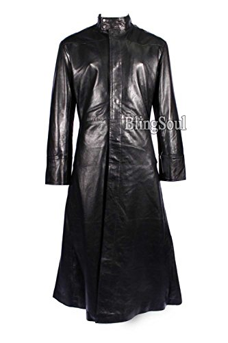 Matrix Black Neo Long Trench Coat Cosplay Costume (L, (The Matrix Costume Ideas)