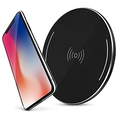 iPhone X Wireless Charger, Qi Wireless Charger Pad with Anti-Slip Rubber for iPhone 8 iPhone X Samsung Galaxy S8 Note 8 and All Qi-Enabled Devices Quick Charger Pad(Black)