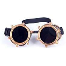 Retro Steampunk Goggles, Spot Vintage Aviator Pilot Style Cruiser Scooter Cool & Safety Steampunk WEDING Goggles BEST for Halloween Cosplay or Hobby Collection