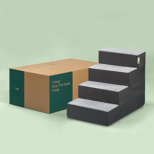 Zinus Easy Pet Stairs/Pet Ramp/Pet Ladder, Large, Grey