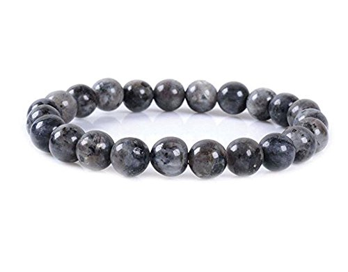 Gold Bead Stretch Bracelet - Natural Larvikite Black Labradorite Gemstone Bracelet 7.5 inch Stretchy Chakra Gems Stones Healing Crystal Great Gifts (Unisex) GB8B-32