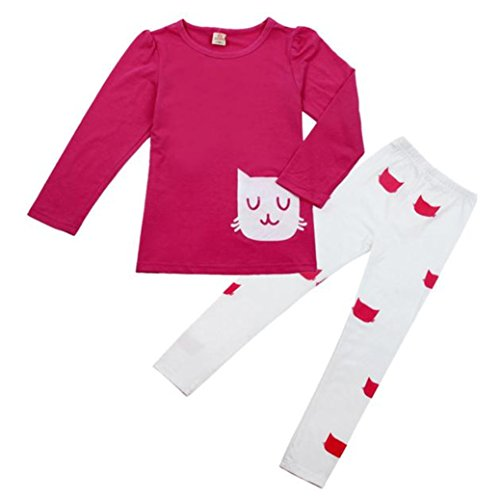 TIFENNY New Kids Girl Long Sleeve Cartoon Cat Shirt +Pant Set (120, Hot Pink)