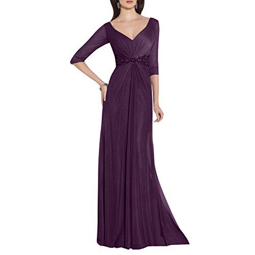 Traube Ballkleider mia La Chiffon Langes Langarm Brautmutterkleider 4 Festlichkleider Ausschnitt Abendkleider 3 Partykleider Brau V 4wFqxB6