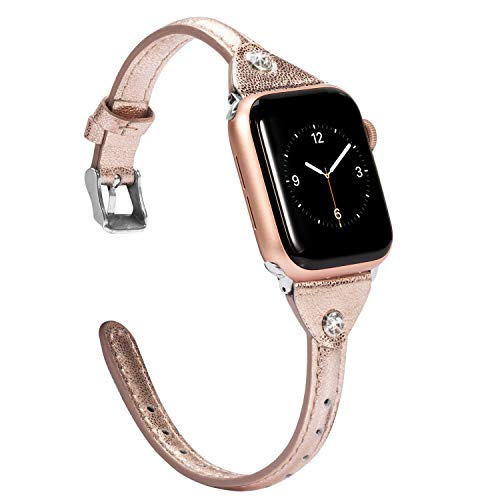 Wearlizer Rose Gold Slim Leather Compatible with Apple Watch Bands 38mm 40mm iWatch Womens Strap Classic Wristbands Leisure Cute Rhinestone Bracelet (Metal Silver Clasp) Series 4 3 2 1 Edition Sports