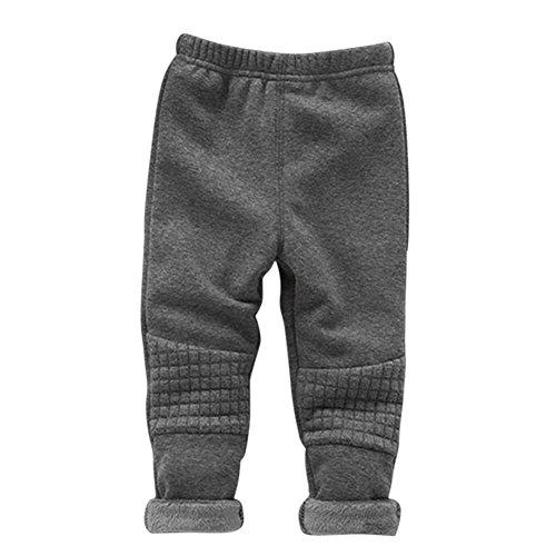 BOBORA Baby Girls Thick Leggings Pants Basic Winter Warm Skinny Stretch Trousers Dark Gray ()