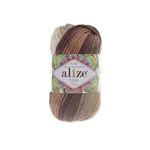 (100% Mercerized Cotton Yarn Alize Miss Batik Thread Crochet Lace Hand Knitting Craft Art Lot of 4skn 200gr Color Gradient 3723)
