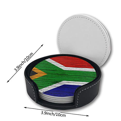 (South Africa Wooden Texture South African Flag Printed Pu Leather Car Coasters Girls Boy Kids Round Circle Holder Table Desk Mug Mats Of 6 Piece Pc Set Decor Ornament Decorations Home Party Gift)