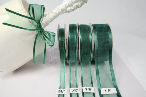 Hunter Green Organza Ribbon With Satin Edge-25 Yards X 5/8 Inches