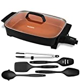 NUWAVE Medley XL (16'x12') 1,500-Watt 6-in-1 Digital Skillet with Duralon Healthy Ceramic Non-Stick Coating, Intuitive Digital Controls, Precise Temperature Control along with the Durable, Dishwasher-Safe 5-Piece Utensil Set