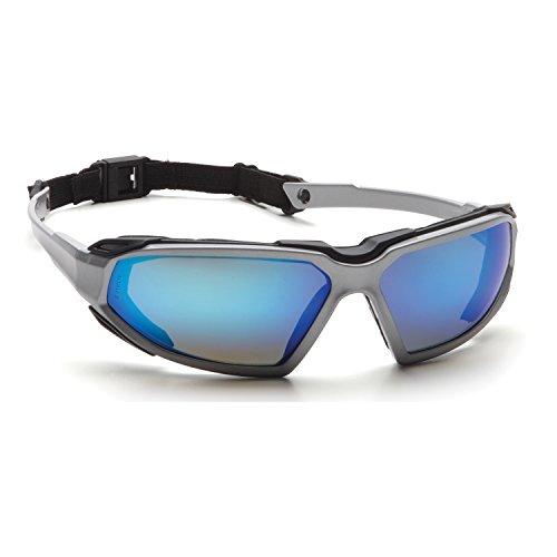 Pyramex Highlander Safety Eyewear, Silver-Black Frame/Ice Bl