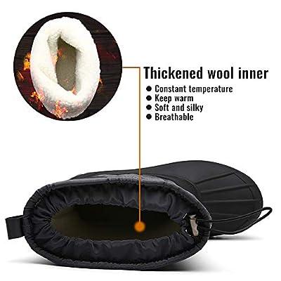 FULORIS Winter Snow Boots Drawstring Waterproof Non-Slip Fur Warm Lightweight for Outdoor Anti-Skid Rubber Sole. | Snow Boots
