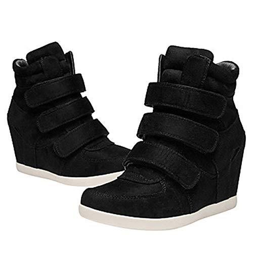 Comoda Per US6 Black CN36 Primavera Donna UK4 Blu TTSHOES Nappa EU36 Stivali Marrone Scarpe Zeppa Sneakers Vino qpdXXwO