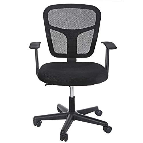ZenStyle - Silla ergonómica de oficina con respaldo medio para escritorio con apoyabrazos, altura ajustable, respaldo de malla, silla giratoria para computadora de oficina en casa, color negro