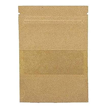 bigboba Pack de 100 reutilizable papel Kraft ziplock bolsa de almacenamiento de alimentos Stand Up bolsa para frutos secos café semillas dulces Bean ...