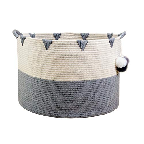 - Solaya Large Cotton Rope Basket Storage with Handles - Chevron Grey Woven Toy Storage Basket for Laundry Hamper, Diapers, Nursery, Toys, Towels (22