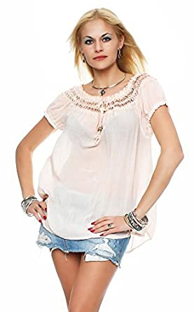 Italy collection Bluse Dame Sommerbluse Tunika Carmenbluse Top Bluse Am 412  (One Size (36
