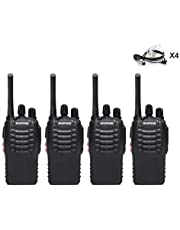 BaoFeng BF-888S(BF-88A) FRS Radio Walkie Talkie 0.5W 16-Channel Two Way Radio with Acoustic Tube Earpiece, LED Flashlight, USB Charger 4 Pack
