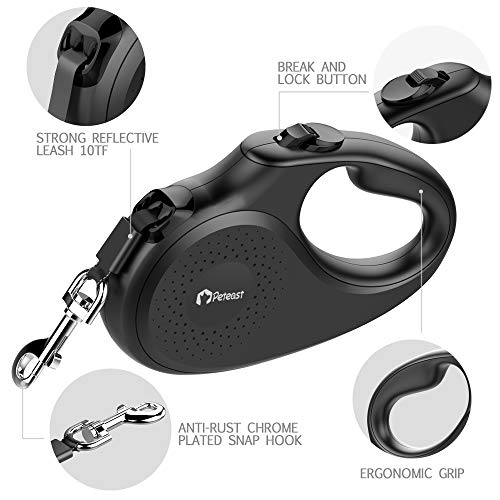 Peteast Retractable Dog Leash Small Breed, Patented Dog Leash for Small Dog, Leash Up to 26lbs, 10ft, Portable Design with One Button Brake/Lock, Comfortable Hand Grip