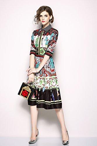 LAIamp;MENG Damen Vintage 2/3Arm Hemdkleid in Midilänge mit ...