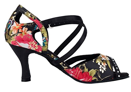 Latin Flared Tango Samba Crystals Wedding Satin Peep Heel TDA 4 Dance US Black M Modern Toe Floral Shoes Women's Salsa tKOPqAyw4A