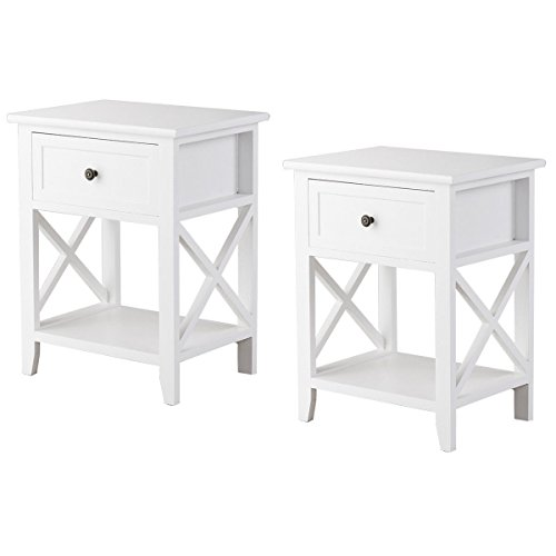 Natural Drawer Nightstand 2 - Giantex Set of 2 Wooden Nightstand W/Drawer and Bottom Open Shelf Stable Frame for Bedroom Home Furniture X-Shape, White End Bedside Table