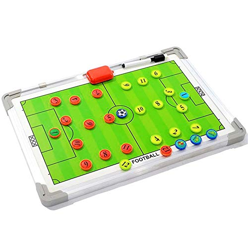 Ybriefbag-Sports Aluminum Training Guidance Board Soccer Coach Durable Magnetic Demonstration Board Football Supplies Coaches Marker Board Set with Pen Magnetic Chess Piece Tactics Clipboard
