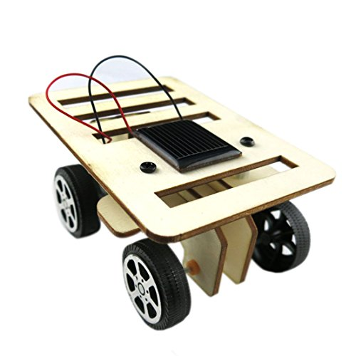 Ezoe's Wooden DIY Solar Car Kit - Solar Powered Assemble Toy Set - Creative Science Educational Kit for Kids Students Technology Puzzle Toy IQ Gadget Hobby Funny Robot Vehicle Car Solar Robot Kit