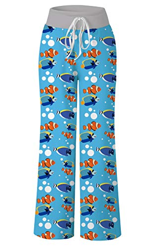 Women's Casual Pajamas Pants Blue Spaceship Orange Fish Bones Foot Print Dot Summer Wide Leg Palazzo Lounge Pants High Waisted Drawstring Comfy Sleepwear Trousers Pyjamas ()