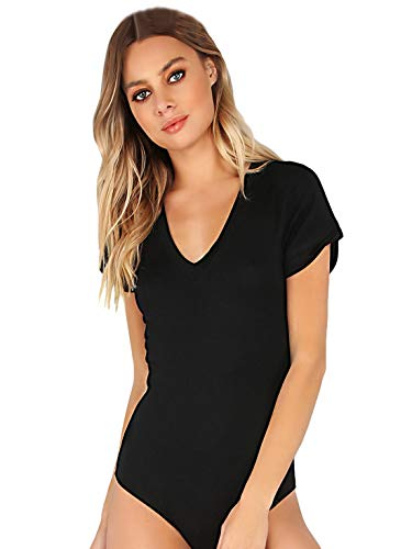 MAKEMECHIC Women's Short Sleeve Tops Basic V-Neck Leotard Bodysuit Lingerie Black -