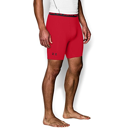 Under Armour Men's HeatGear Armour Compression Shorts – Mid, Red (600)/Black, Medium by Under Armour (Image #4)