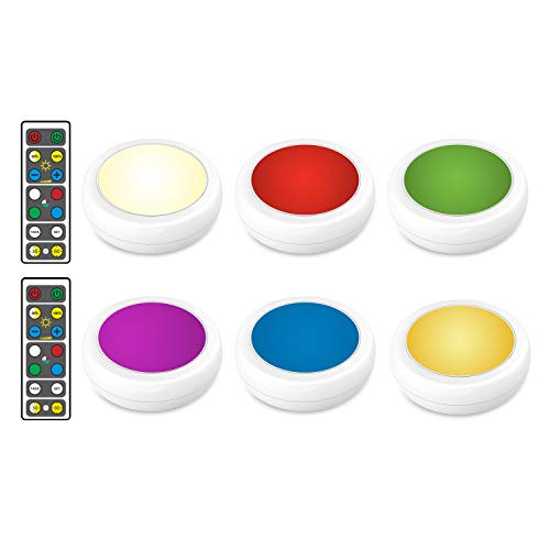 Brilliant Evolution Wireless Color Changing LED Puck Light 6 Pack With 2 Remote Controls | LED Under Cabinet Lighting | Closet Light | Battery Powered Lights | Under Counter Lighting | Stick On Lights