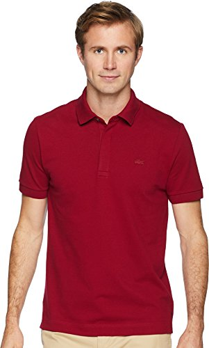 (Lacoste Men's Short Sleeve Solid Stretch Pique Regular Fit Paris Polo, PH5522, Bordeaux 4X-Large)