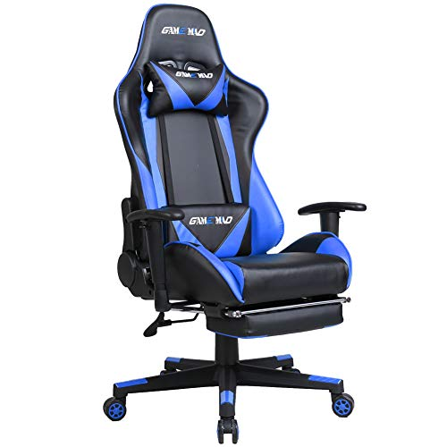 High Back PU Leather Swivel Gaming Chair with Adjustable Lumbar Support Headrest Footrest Video Game Chair Racing Office Chair (Bule)