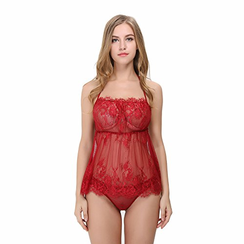 Mefezi Sexy Lingerie Transparent Babydoll Set Lace Chemise Outfits for women Size M