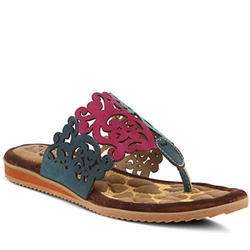 L'Artiste by Spring Step Women's Style Heaven Teal EURO Size 40 Leather Slide (5 Ounce Spring)