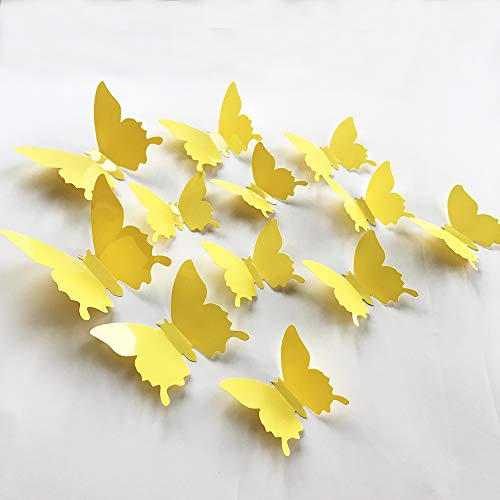 (V-Time 3D Yellow Butterfly Wall Stickers Yellow 24 pcs Removable Mural Stickers Wall Stickers Decal for Home and Room Decoration Kids Room Bedroom Decor Living Room Sticker (Yellow))