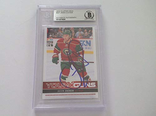 Jason Zucker Signed 2012/13 Young Guns RC Card Slabbed Beckett BAS BGS a - Beckett Authentication - Hockey Slabbed Autographed Rookie Cards
