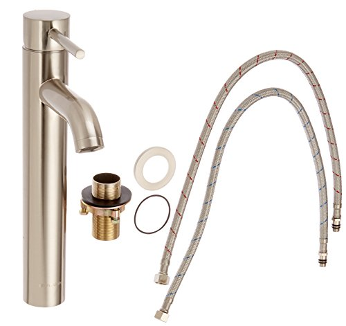 Dyconn Faucet VS1H14-BN   Mystic Modern Bathroom/Vessel/Bar Faucet, Brushed Nickel (Single Hole Elongated Spout)