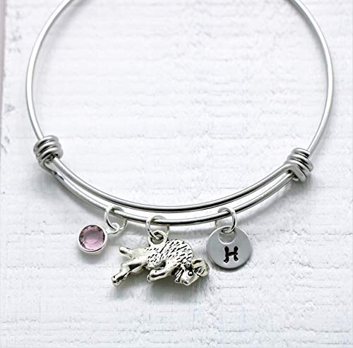 (Buffalo Bracelet for Women - Personalized Initial Letter & Birthstone - Bison Bracelet - Yellowstone Bracelet - Buffalo Souvenir - Fast Shipping)