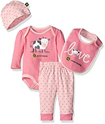 John Deere Girls\' Cow 4 Piece Gift Set, Medium Pink/Light Pink, 3-6 Months