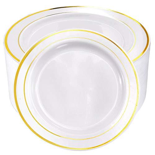 60pcs Plastic Gold Plates10.25