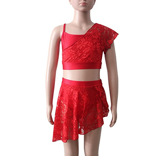 Girls Contemporary Ballet Dance Lycra Crop Top Shorts Lace Overlay Kids Costume (L, Red)