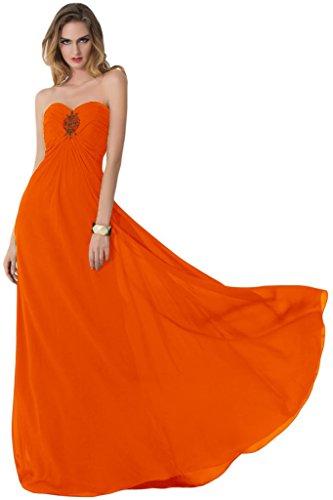 sunvary Sexy parte trasera abierta de raso vestidos de novia dama de honor Empire de la cintura naranja